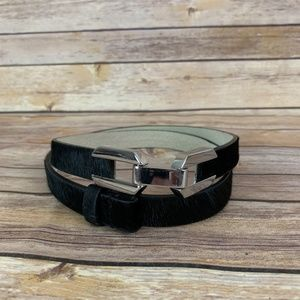 White House Black Market XS S Black Calf Hair Belt